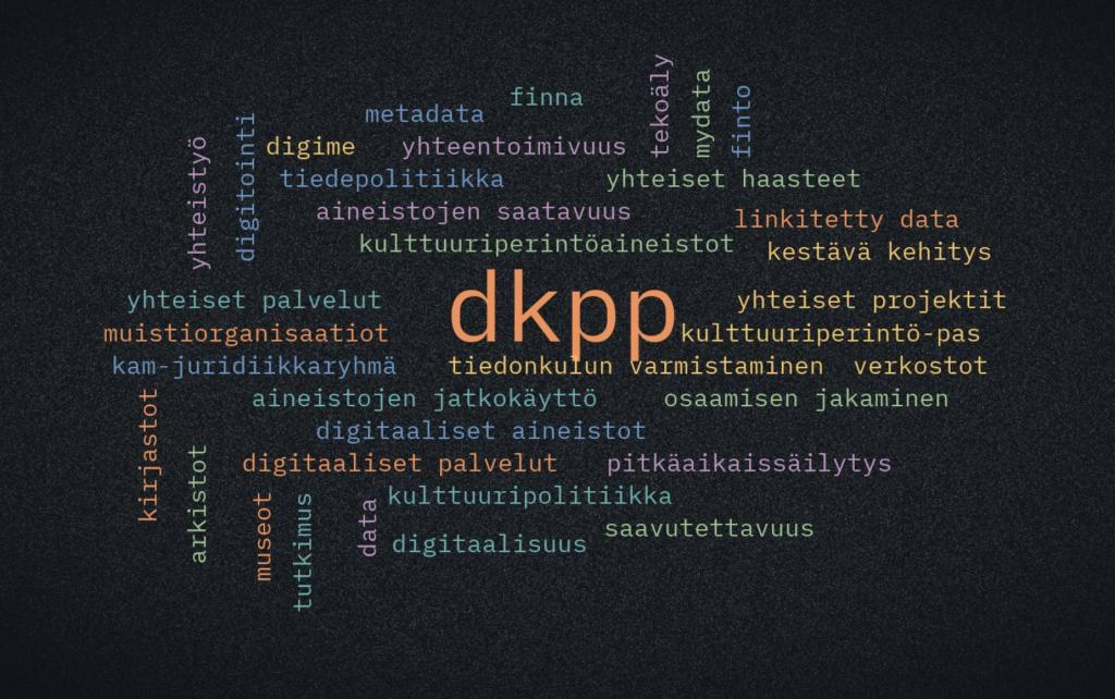 Sanapilvi digitaaliseen kulttuuriperintöön liittyvistä sanoista.